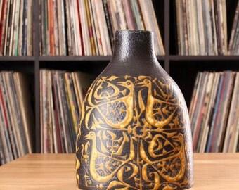 mid century Danish modern vase by Nils Thorsson for Royal Copenhagen . faience baca vase . Scandinavian art pottery bird vase . US SELLER