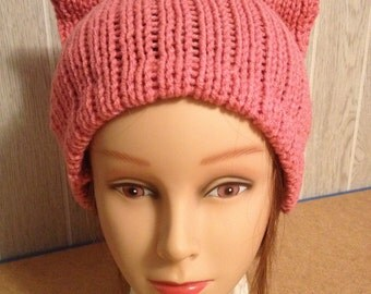 Mauve PussyHat Cat beanie Women's March PUSSY HAT Cap Kitty Ears 3 Sizes, -- Charity Donation & Free Shipping UsA
