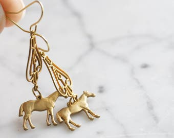 Curious Horse | Vintage Brass Dangle Earrings