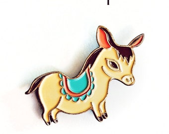 DONKEY Enamel Pin, Donkey Pin Brooch - Boygirlparty Pins - Enamel Pin Cute Enamel Pin - burro pin, mexican folk art, farm animals farm gifts