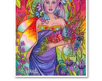 Signed 8 x 10 Print Garden of Iris Art Pink Nouveau Goddess Diva Mother Nature B. K . Lusk
