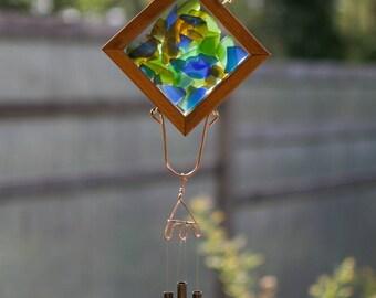 Wind Chime Beach Glass Copper Outdoor Windchime Suncatcher