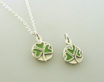 Clover Necklace, Tiny Shamrock Necklace, Green Lucky Charm, Enamel Inlay, Relic Collection Jewelry by Kathryn Riechert