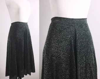 Vintage Black and Silver Skirt - Metallic Lurex Shimmer A-Line Skirt - Lightweight Skirt w/ Lining - Twirly Party Skirt - Large XL Plus Size