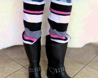 Multi stripe black pink white rib knit legwarmers upcycled eco friendly bootsocks leg warmer sweater boot socks cuffs wellies arm warmers