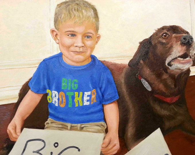 "Custom Portrait Painting from your favorite Photos, Oil on Canvas, 16"" x 20"" Gift Certificate"