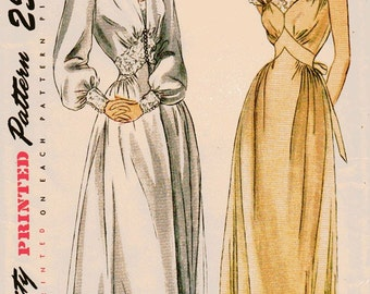 Simplicity 2235 Misses Negligee Vintage Sewing Pattern 40s Nightgown, Robe Size 12 Bust 30 Uncut
