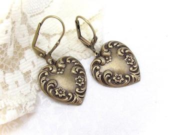 Art Nouveau Earrings, Heart Earrings, Antiqued Brass Heart Earrings, Valentine Earrings, Lever Back earrings, Gift for Girlfriend Mother