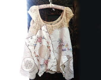 Lace & Florals Top, Hand Stitched, Vintage Linens, Embroidered, Off White/Cream, Rustic, Boho, Crinoline Lady