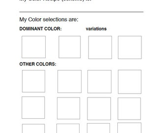 COLOR Recipe Color Scheme Painting Planning WORKSHEET  PDF Plan for Better Paintings