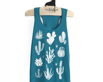 Small -Dark Teal Racer Back Tank with Cactus Screen print