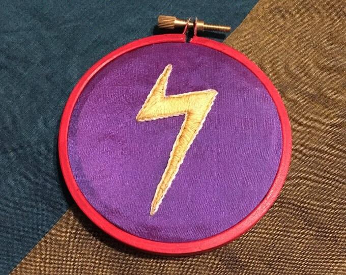 Ms Marvel - Kamala Khan - Lightning Bolt - Personal Power Symbol - Feminist Art - Embroidered Hoop Art