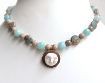 Man in the moon necklace. sun necklace pendant. Carved bone. Jasper necklace. Amazonite beads