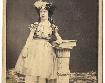 Identified cdv girl hat millinery bloomers vintage photo Adelaide feather fabric fashion performer