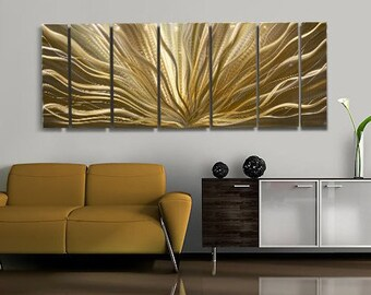Huge Multi Panel Metal Wall Art In Gold, Abstract Metal Wall Sculpture, Contemporary Metal Decor - Transcendence of Light XL by Jon Allen