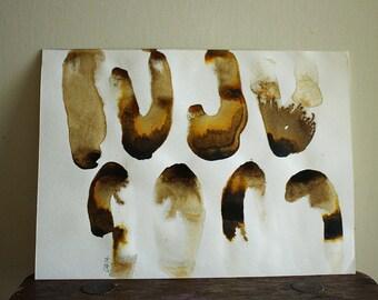 ORIGINAL INK PAINTING / modern art / abstract painting / original fine art / home wall decor / brown / australian art / rust / pamelatang