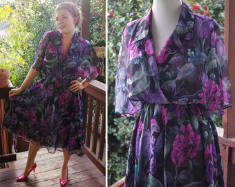Purple IRIS 1970's Vintage Puprle + Black Sheer Flouncy Light Floral Dress // size Small // by Carol Anderson Petites