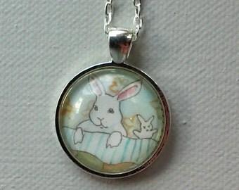Bedtime Bunny - Round Rabbit Pendant - Animal Jewelry