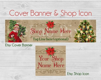 Christmas Etsy Banner, Cover Photo, Holiday Shop Banner, Poinsettia, Christmas Tree, Holiday Sale Banner, Red, Green, Rustic, Burlap