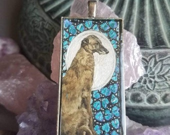 By the light of the moon Deerhound pendant