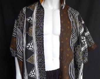 Linen/Cotton Kimono with Aboriginal Print, Handwoven Lined Hood, Caftan, Menswear, Robe, Festival Clothing