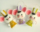 Vintage Style Kitsch Felt Christmas White Drummer Mouse Ornament - Olive