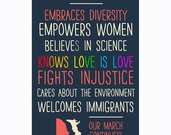 This Business Embraces Diversity (Our March Continues!) Window Poster