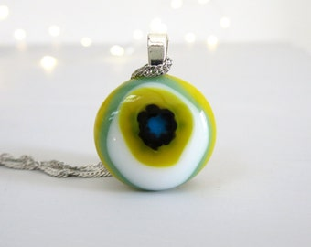 Fused Glass Pendant. Colourful Glass Necklace. Millefiori Pendant. Unique Pendant. Boho Necklace