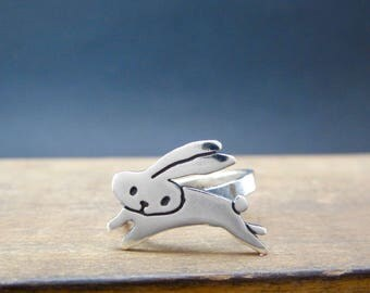 Sterling Silver Bunny Ring - Flying Bunny Ring - Easter Rabbit Ring