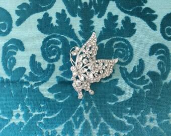 Butterfly Brooch.Butterfly Rhinestone Brooch.Crystal Brooch.Butterfly Pin.Wedding.Bridal.Bride.Silver Butterfly Brooch.Butterfly Pin.Broach