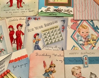 SALE 10 Vintage BIRTHDAY Get Well Cards Never Used Curiosity Cabinet Collectable Wedding New Baby Paper Craft Supplies Set 3