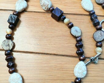 Wood and White Turquoise Beaded Long Necklace