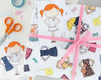 Clara Paper Doll Wrapping Paper Set - Dress Up Wrapping Paper - Clara Paper Doll Activity Gift Wrap - Children's Dress Up Toy