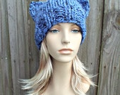 Blue Cat Hat Blue Knit Hat Blue Womens Hat - Blue Cat Beanie Hat - Blue Hat Blue Beanie - Acai Blue Winter Hat