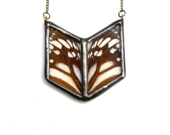 RESERVED Butterfly Wing Necklace. Butterfly Chevron Necklace. Geometric Butterfly Necklace. White Monarch. Real Butterfly Wing Pendant.