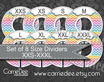Clothing Size Dividers, Consultant Stylist Tools, Size Divider Set, Rainbow Chevron Design, Size Cards