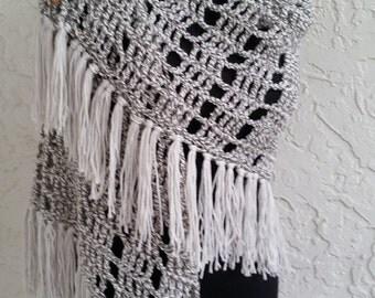 hand crochet Shawl Capelet grey White women accessory ~ stylish wrap ~ grey and white