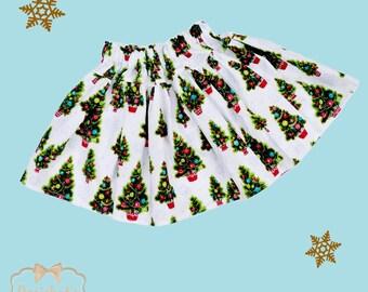 Christmas Skirt -Retro Christmas Tree Skirt - Infant Christmas Skirt - Girl Twirl Skirt - Christmas Tween Skirt - SIzes 6 month - Girl 16