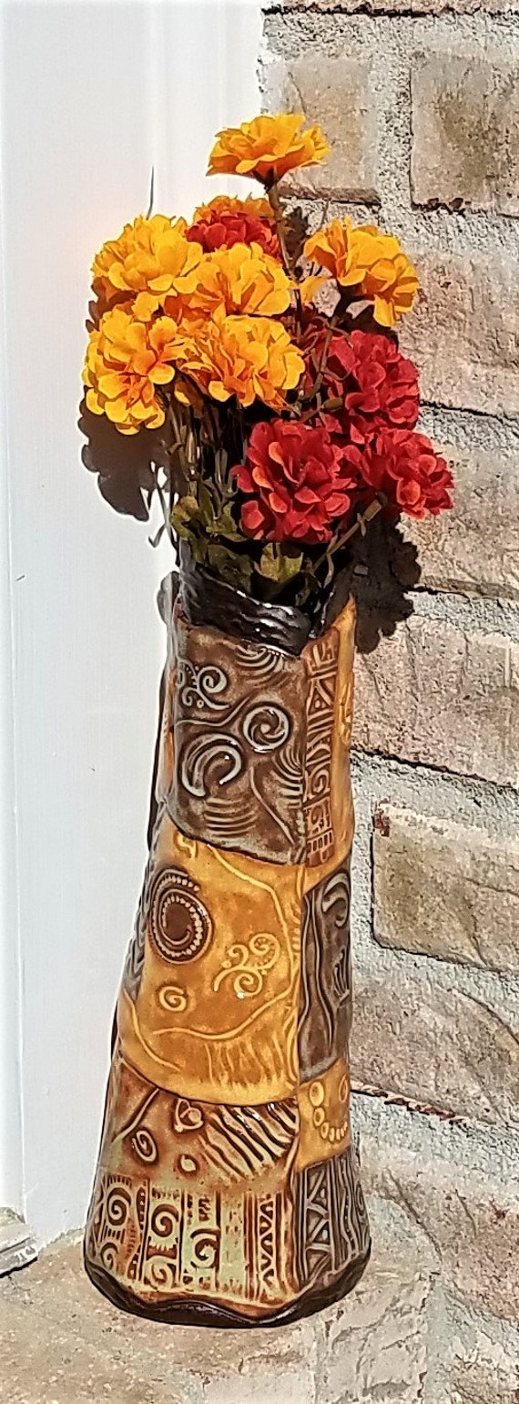 Ceramic Vase - Decorative Vase - Stoneware Vase - Flower Vase - Large Ceramic Vase - Pottery Vase - Textured Vase - Clay Vase - Modern Vase