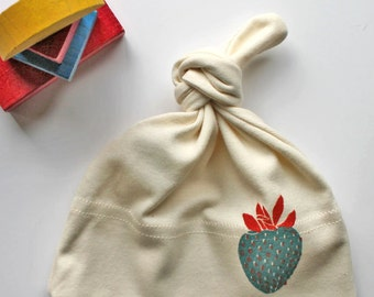 Strawberry Two Color Organic Cotton Infant Hat- Block printed in Seattle