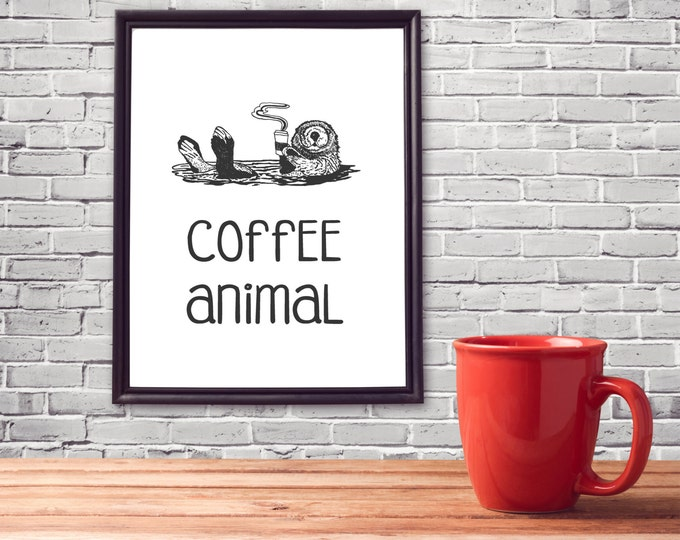 Coffee Lover, Gift For Coworker, Gift Funny Coworker Gift Unique, Coffee Animal, Office Cubicle Art, Cubicle Wall Decor, Otter Art Printable