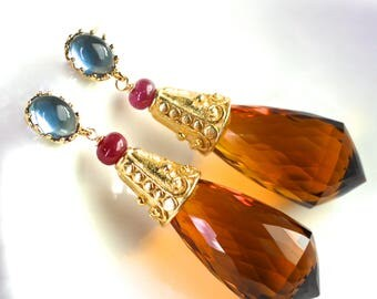 Stunning Large Citrine, Pink Sapphire, Aquamarine Vermeil and 14k Gold Fill Earrings...