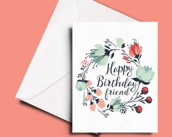 Feminine birthday card with a floral wreath for a friend