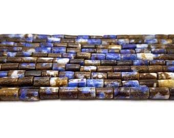 44 Blue, Brown Bone Beads, Tube Beads 8MM (H2479)