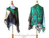 Pashmina &  Gossamer Poncho Wrap ~ festival wear ruana shawl gypsy boho chic kimono cape wrap upcycled handmade clothing jacket wearable art