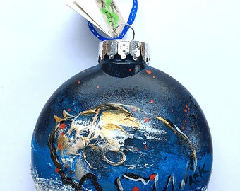 Buffalo Ornament - Snowy Blue Buffalo Ornament - Bison Ornament - Hand Painted Christmas Ornament - Buffalo NY - Buffalo Gift