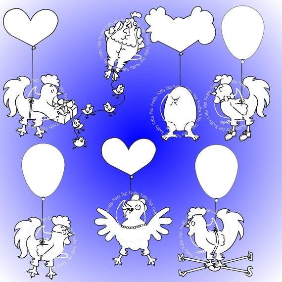 Digi Stamp Instant Download. Balloon Chicken Set - Knitty Kitty Digis No. 54 A-G