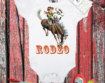 Baby Gift, Rodeo, One Piece, Vintage Buckaroo, Infant Bodysuit, Vintage Graphic, Cowboy, Shower Gift, Gift for Him, 3m, 6m, 12m, 18m