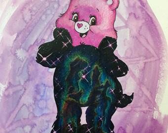 "GALACTIC CAREBEAR Toon Totem Original Mixed Media drawing on watercolor paper 11"" x 17"""
