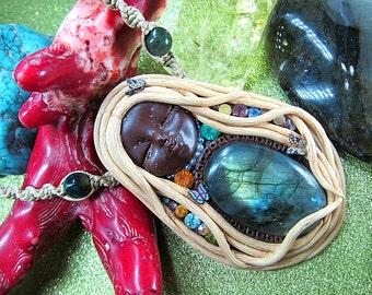 Clay Gemstone Goddess Necklace, Labradorite Goddess Pendant, Goddess Jewelry, Labradorite Healing Jewelry, Metaphysical Jewelry, Gift Ideas